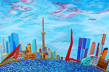 Rotterdamer Skyline Fantasy (2017) von Ton van Breukelen