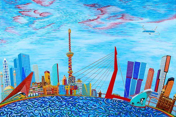 Schilderij Rotterdam Skyline Fantasy
