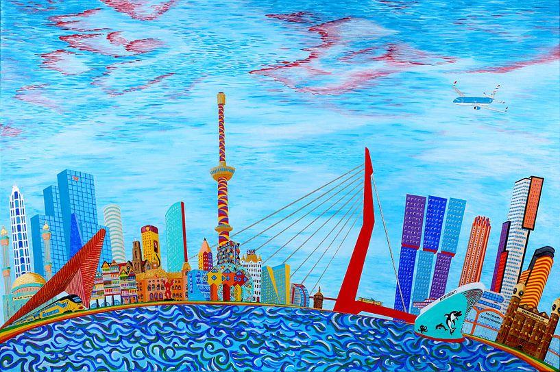 Schilderij Rotterdam Skyline Fantasy van Ton van Breukelen