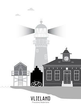 Skyline illustratie waddeneiland Vlieland zwart-wit-grijs van Mevrouw Emmer