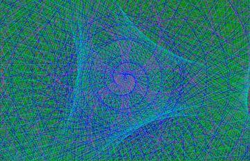 Lijnenspel, spiraal, blauw en groen van Rietje Bulthuis