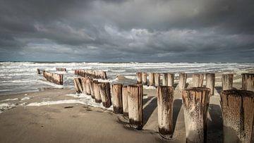 Paalhoofden aan stormachtige Zeeuwse kust van Michel Seelen