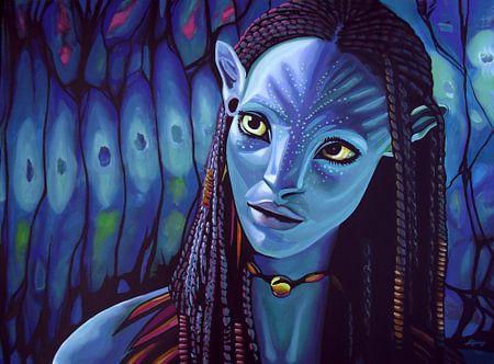 Zoe Saldana als Neytiri in Avatar schilderij