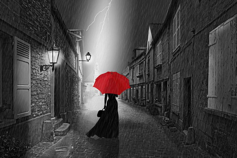 De vrouw met de rode paraplu. van Monika Jüngling