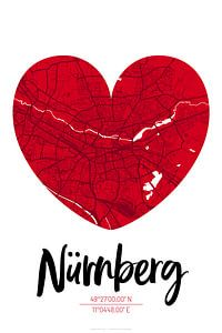 Nürnberg – City Map Design Stadtplan Karte (Herz)