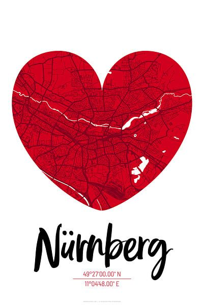 Nürnberg – City Map Design Stadtplan Karte (Herz) von ViaMapia