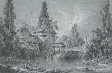 Landschaft mit einem Turm, bei Beauvais, François Boucher