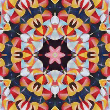 Abstrakte Blume Mandala in rot blau gelb von Maurice Dawson