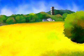 Landschapsschilderij met huizen en een uitkijktoren in de verte