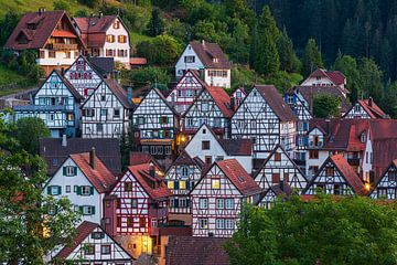 Vakwerkhuizen in Schiltach, Baden-Württemberg, Duitsland van Henk Meijer Photography