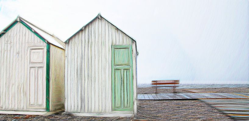 strandhuisjes (beach huts) van Yvonne Blokland