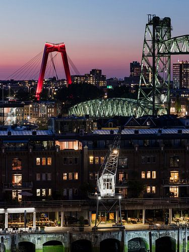 Stadsbruggen van Rotterdam in de avond