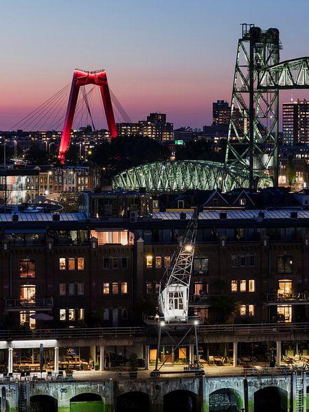 Stadsbruggen van Rotterdam in de avond van Edwin Muller