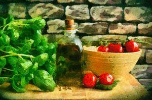 Stilleven met olijfolie, tomaten en basilicum
