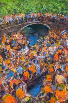 Koningsdag, oranje boven  op de Amsterdamse Prinsengracht van Paul Nieuwendijk