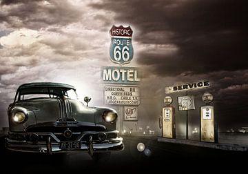 Benzinestation aan Route 66 met oldtimer van Kvinne Fotografie