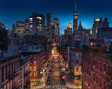 Lower Manhattan na zonsondergang van Remco Piet