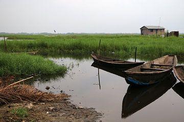 Landschap over het meer en eilandjes van Cora Unk