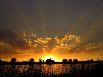 Zonsondergang rottemeren / Crespucular rays at sunset von G. de Wit