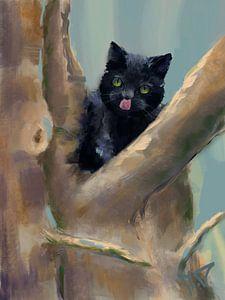Zwarte kat in de boom van Marijke Doppenberg