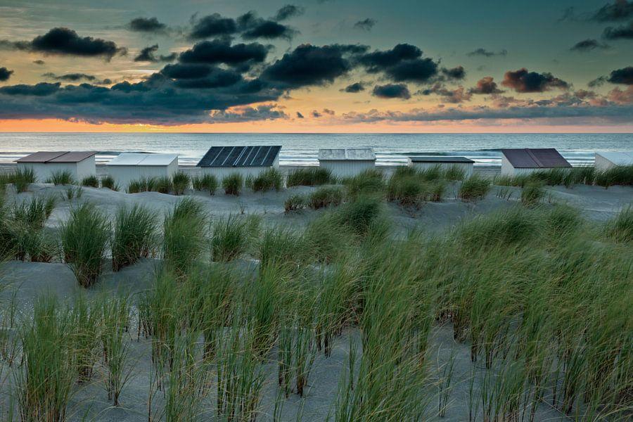 houten strandhuisjes langs de kust