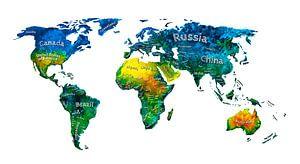 Wereldkaart met landnamen in Aquarel
