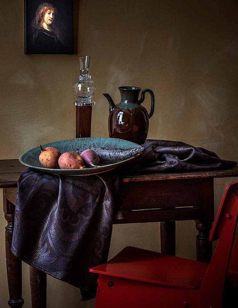 Klantfoto: Rembrandt van Rijn, Saskia van Uylenburgh, de vrouw van de kunstenaar van Rembrandt van Rijn, op canvas