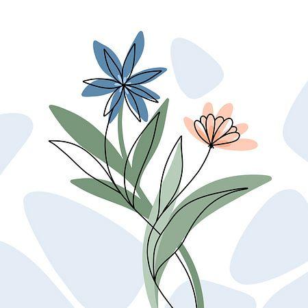 Bloemen blauw en koraal - modern elegant illustratie van Studio Hinte