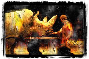 Nashorn und Dompteur von Leopold Brix
