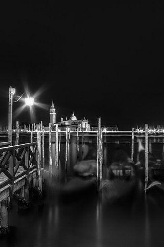 VENICE San Giorgio Maggiore at Night in black and white
