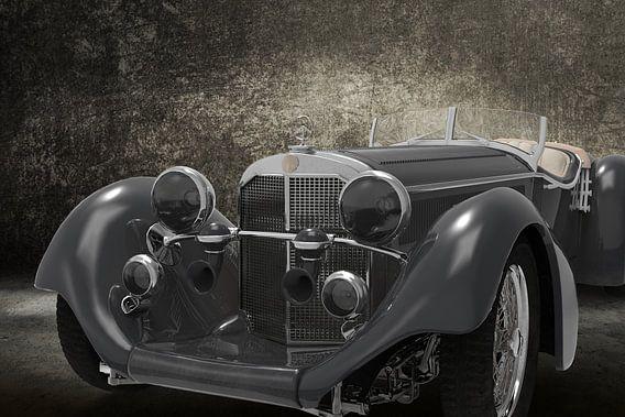 Retro Car front grey
