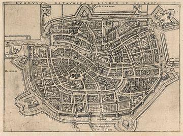 Oude kaart van Leiden van omstreeks 1657. van Gert Hilbink