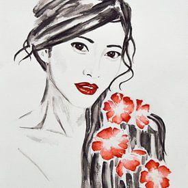 Geisha, femme japonaise avec des fleurs sur Bianca ter Riet