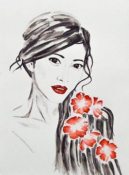 Geisha, femme japonaise avec des fleurs