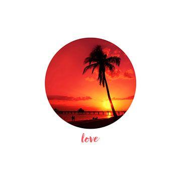 Graphic Art LOVE | Romantischer Sonnenuntergang von Melanie Viola