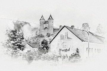 Die Bertradaburg im Mührlenbach (Eifel / Deutschland) von Art by Jeronimo