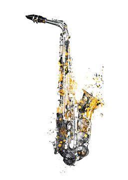 Saxofoon 3 muziekkunst goud en zwart #saxofoon #muziek van JBJart Justyna Jaszke