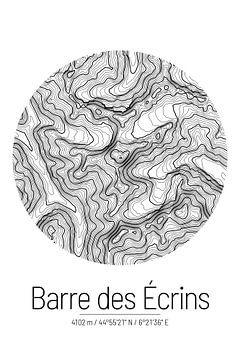 Barre des Écrins | Topographie de la carte (minimale) sur City Maps