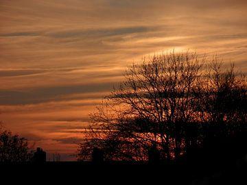 Nederland zonsondergang van Liza Foppen