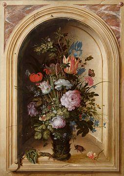 Vaas met bloemen in een stenen nis, Roelant Savery van
