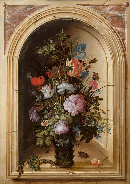 Vaas met bloemen in een stenen nis, Roelant Savery van Meesterlijcke Meesters