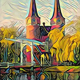 Schilderij Oostpoort Delft in stijl Picasso van Slimme Kunst.nl