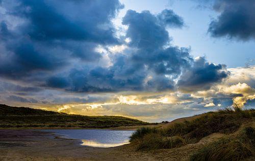 Duinen van Texel bij zonsondergang
