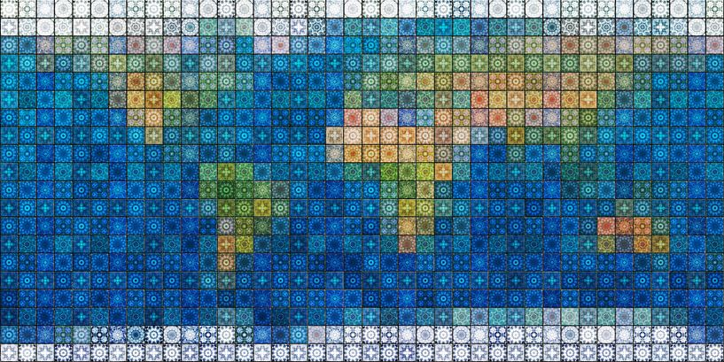 Wereldkaart in mediterraan tegelwerk van Frans Blok