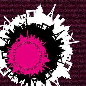 Parijs typografisch silhouette roze