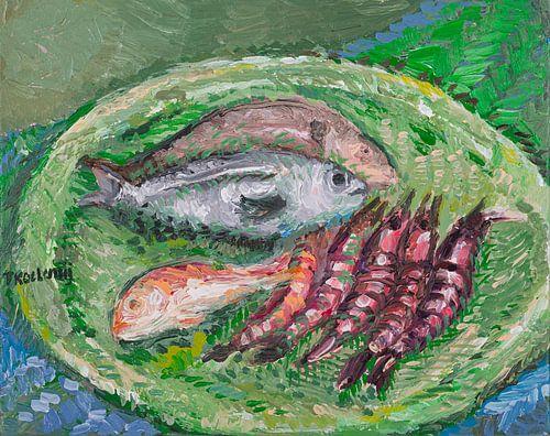 Bord met vis van Tanja Koelemij