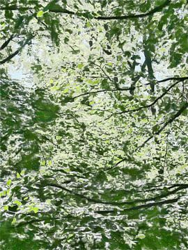 Couches de vert dans les arbres - Peinture