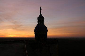Ein Wachturm der Festung Königstein bei Sonnenuntergang von Christiane Schulze