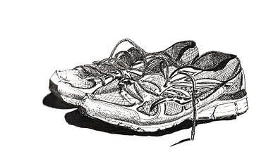 Pentekening van gebruikte sportschoenen van Ivonne Wierink