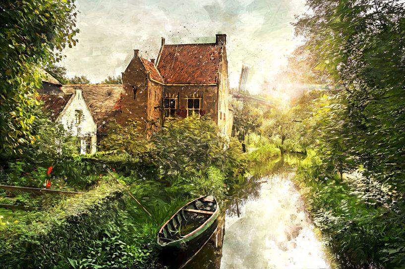 Oud Hollands Landschap geschilderd van Arjen Roos
